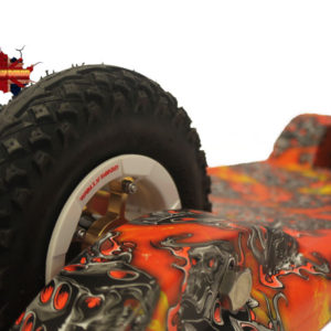 Totally Board 2wheel Orange flaming dice with black wheels
